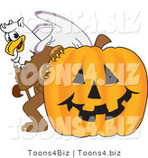 Vector Illustration of a Cartoon Griffin Mascot with a Halloween Pumpkin by Toons4Biz
