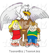 Vector Illustration of a Cartoon Griffin Mascot with Students by Toons4Biz