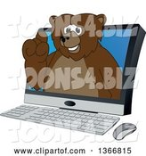 Vector Illustration of a Cartoon Grizzly Bear School Mascot Emerging from a Desktop Computer Screen by Toons4Biz