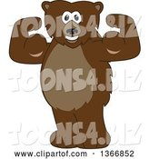 Vector Illustration of a Cartoon Grizzly Bear School Mascot Flexing His Muscles by Toons4Biz