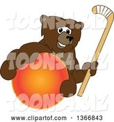 Vector Illustration of a Cartoon Grizzly Bear School Mascot Grabbing a Ball and Holding a Hockey Stick by Toons4Biz