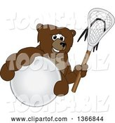 Vector Illustration of a Cartoon Grizzly Bear School Mascot Grabbing a Ball and Holding a Lacrosse Stick by Toons4Biz