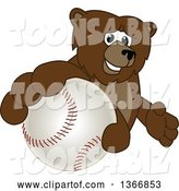 Vector Illustration of a Cartoon Grizzly Bear School Mascot Grabbing a Baseball by Toons4Biz