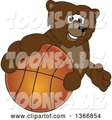 Vector Illustration of a Cartoon Grizzly Bear School Mascot Grabbing a Basketball by Toons4Biz
