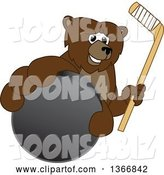 Vector Illustration of a Cartoon Grizzly Bear School Mascot Grabbing a Puck and Holding a Hockey Stick by Toons4Biz