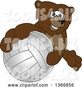Vector Illustration of a Cartoon Grizzly Bear School Mascot Grabbing a Volleyball by Toons4Biz