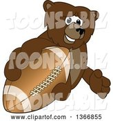 Vector Illustration of a Cartoon Grizzly Bear School Mascot Grabbing an American Football by Toons4Biz