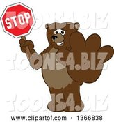 Vector Illustration of a Cartoon Grizzly Bear School Mascot Holding out a Paw and a Stop Sign by Toons4Biz