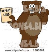 Vector Illustration of a Cartoon Grizzly Bear School Mascot Holding up a Finger and a Report Card by Toons4Biz