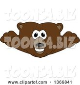 Vector Illustration of a Cartoon Grizzly Bear School Mascot Leaping Forward by Toons4Biz