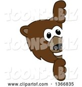 Vector Illustration of a Cartoon Grizzly Bear School Mascot Looking Around a Sign by Toons4Biz