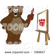 Vector Illustration of a Cartoon Grizzly Bear School Mascot Painting a Paw on a Canvas by Toons4Biz