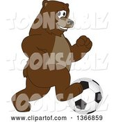Vector Illustration of a Cartoon Grizzly Bear School Mascot Playing Soccer by Toons4Biz