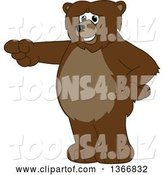 Vector Illustration of a Cartoon Grizzly Bear School Mascot Pointing by Toons4Biz