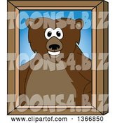 Vector Illustration of a Cartoon Grizzly Bear School Mascot Portrait by Toons4Biz