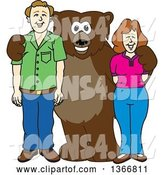 Vector Illustration of a Cartoon Grizzly Bear School Mascot Posing with Parents by Toons4Biz