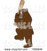 Vector Illustration of a Cartoon Grizzly Bear School Mascot Ready to Swing a Baseball Bat by Toons4Biz