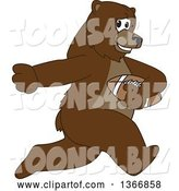Vector Illustration of a Cartoon Grizzly Bear School Mascot Running with an American Football by Toons4Biz