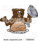 Vector Illustration of a Cartoon Grizzly Bear School Mascot Serving a Roasted Thanksgiving Turkey by Toons4Biz