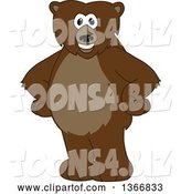 Vector Illustration of a Cartoon Grizzly Bear School Mascot Standing with His Hands on His Hips by Toons4Biz