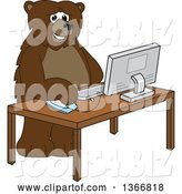 Vector Illustration of a Cartoon Grizzly Bear School Mascot Using a Desktop Computer by Toons4Biz
