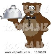 Vector Illustration of a Cartoon Grizzly Bear School Mascot Waiter Holding a Cloche Platter by Toons4Biz