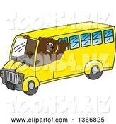 Vector Illustration of a Cartoon Grizzly Bear School Mascot Waving and Driving a Bus by Toons4Biz