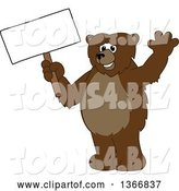 Vector Illustration of a Cartoon Grizzly Bear School Mascot Waving and Holding a Blank Sign by Toons4Biz