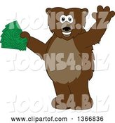 Vector Illustration of a Cartoon Grizzly Bear School Mascot Waving and Holding Cash Money by Toons4Biz