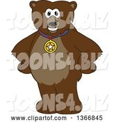 Vector Illustration of a Cartoon Grizzly Bear School Mascot Wearing a Sports Medal by Toons4Biz