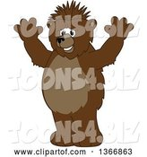Vector Illustration of a Cartoon Grizzly Bear School Mascot with a Mohawk, Holding up His Paws by Toons4Biz