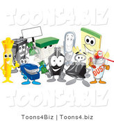 Vector Illustration of a Cartoon Group of Office Supply Mascots by Toons4Biz