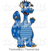 Vector Illustration of a Cartoon Happy Blue Punk Dragon Mascot by Toons4Biz