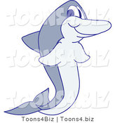 Vector Illustration of a Cartoon Happy Dolphin Mascot by Toons4Biz
