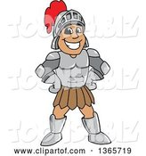 Vector Illustration of a Cartoon Happy Grinning Armored Knight Standing with Hands on His Hips by Toons4Biz