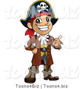 Vector Illustration of a Cartoon Happy Pirate Mascot Holding a Thumb up by Toons4Biz