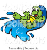 Vector Illustration of a Cartoon Happy Tortoise Mascot on a Water Slide by Toons4Biz