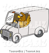Vector Illustration of a Cartoon Hawk Mascot Character Driving a Delivery Van by Toons4Biz