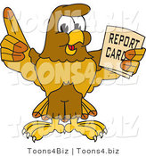 Vector Illustration of a Cartoon Hawk Mascot Character Holding a Report Card by Toons4Biz