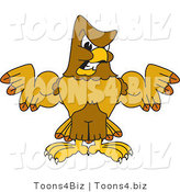 Vector Illustration of a Cartoon Hawk Mascot Character Showing off His Muscles by Toons4Biz