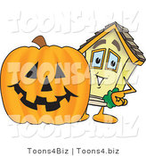Vector Illustration of a Cartoon Home Mascot Beside Halloween Pumpkin by Toons4Biz