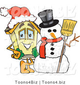 Vector Illustration of a Cartoon Home Mascot Beside Snowman by Toons4Biz
