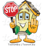 Vector Illustration of a Cartoon Home Mascot Holding a Stop Sign for Open House by Toons4Biz