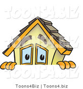 Vector Illustration of a Cartoon Home Mascot Peaking over Blank Sign Area by Toons4Biz
