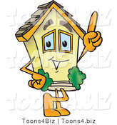 Vector Illustration of a Cartoon Home Mascot Pointing up by Toons4Biz