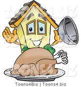 Vector Illustration of a Cartoon Home Mascot Serving Turkey on Thanksgiving by Toons4Biz