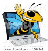 Vector Illustration of a Cartoon Hornet School Mascot Emerging from a Computer Screen by Toons4Biz