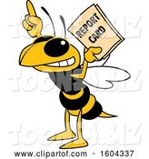 Vector Illustration of a Cartoon Hornet School Mascot Holding a Report Card by Toons4Biz
