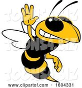 Vector Illustration of a Cartoon Hornet School Mascot Waving by Toons4Biz