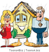 Vector Illustration of a Cartoon House Mascot with New Home Owners by Toons4Biz